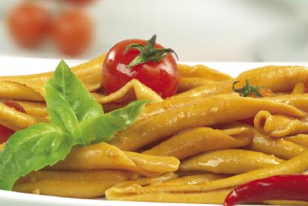 "alt=""Calabrian Fileja Pasta in tomato sauce"""