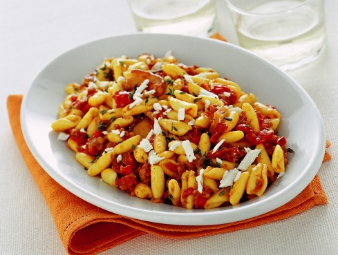 "Alt=""Vorrei Italian Cavatelli with porcini, sausage & sundried tomatoes"""