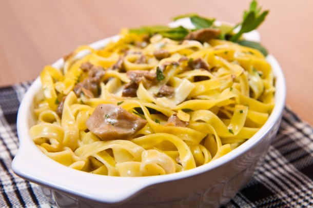 "Alt=""Fettuccine with porcini mushrooms"