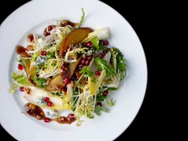 Roasted Pear Salad with Pomegranate and Hazelnut Vinaigrette