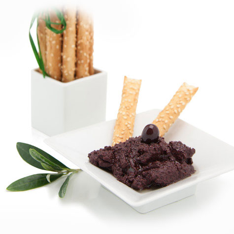 "Alt=""vorrei italian black olive pate with bread sticks"""