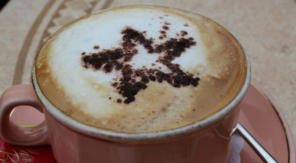Frothy cappuccino with star on top