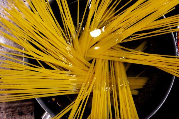 Italian spaghetti in a pan